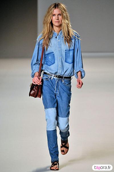 Chemise jean en total look denim