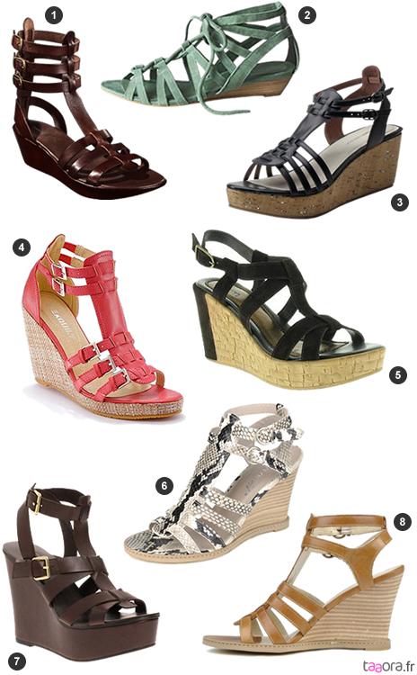 Compensé Chaussures Talon Pour Noir Spartiates Faux Femme Cuir DE92HI