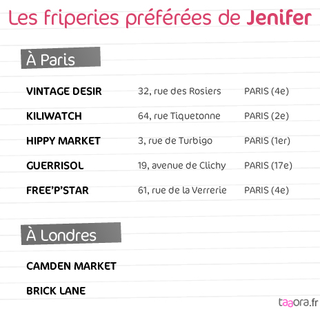 Bonnes adresses shopping de Jenifer