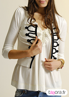 Cardigan court blanc