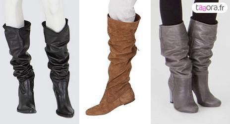 bottes plissées tombantes noires