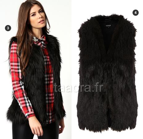 Gilets en fausse fourrure hiver 2013 taaora blog mode tendances looks - Fourrure noir sans manche ...