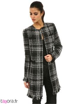 pin manteau carreaux noir et blanc col claudine on pinterest. Black Bedroom Furniture Sets. Home Design Ideas