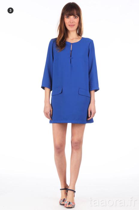 Robe bleue electrique courte
