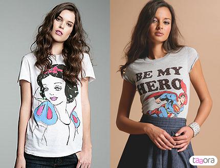 T-shirts Blanche Neige et Superman