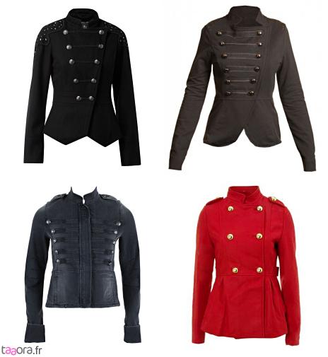 Veste officier femme noir et rouge