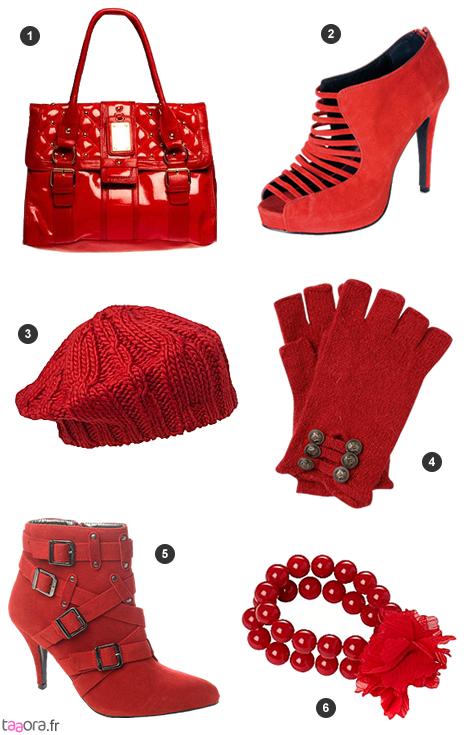 Chaussures et accessoires rouges
