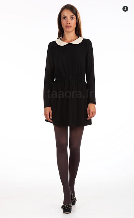 Robe noire courte avec col blanc