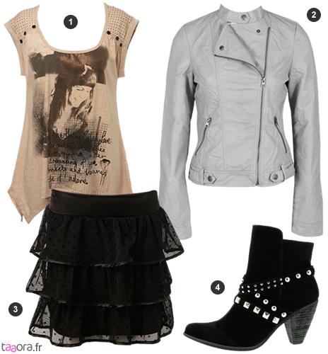 id e de look glam rock avec une jupe volant e taaora blog mode tendances looks. Black Bedroom Furniture Sets. Home Design Ideas