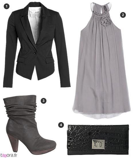 Idée de look avec une robe fluide grise