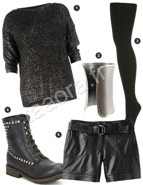 id e de look glam rock avec un short en cuir noir taaora blog mode tendances looks. Black Bedroom Furniture Sets. Home Design Ideas