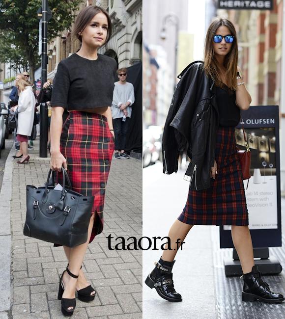 avec quoi porter une jupe carreaux rouges tartan taaora blog mode tendances looks. Black Bedroom Furniture Sets. Home Design Ideas
