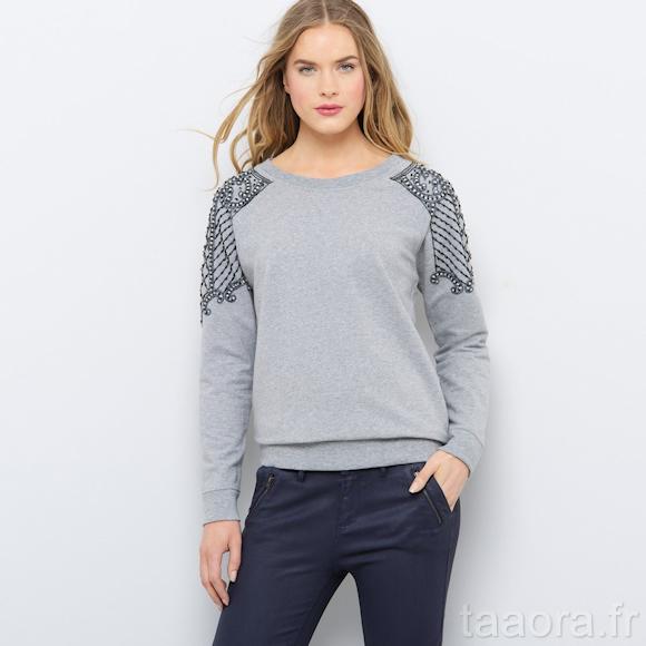 sweat bijoux soft grey catalogue la redoute automne hiver 2014 taaora blog mode tendances. Black Bedroom Furniture Sets. Home Design Ideas