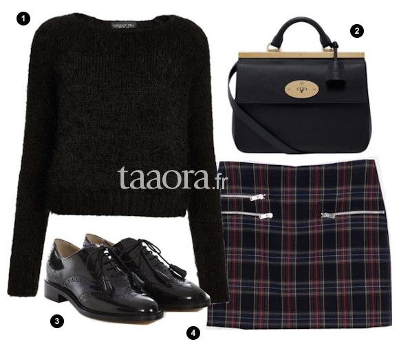 id e de look avec une jupe cossaise zara taaora blog. Black Bedroom Furniture Sets. Home Design Ideas