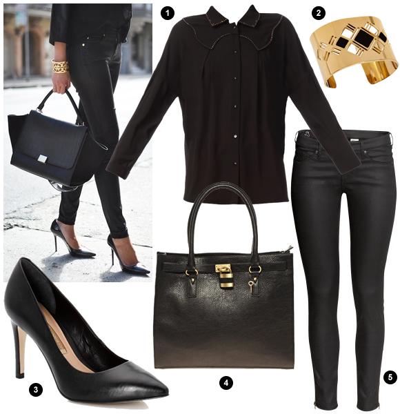total look noir chic avec un bracelet manchette dor. Black Bedroom Furniture Sets. Home Design Ideas