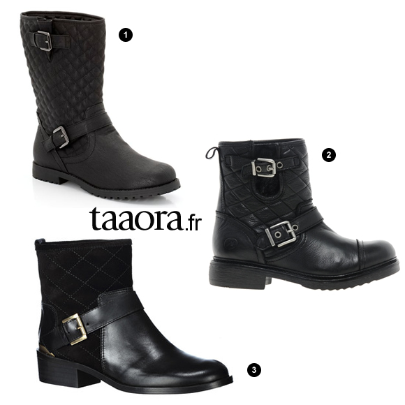 bottines et bottes motardes matelass es noires chaussures rock chic taaora blog mode. Black Bedroom Furniture Sets. Home Design Ideas