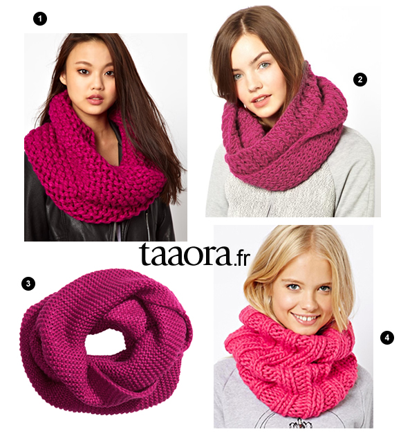 Écharpe-tube en maille rose – Taaora – Blog Mode, Tendances, Looks 063bbb62854