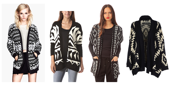Fashion focus   le gilet noir et blanc imprimé (graphique, aztèque,  jacquard) 1e09ded4b3d