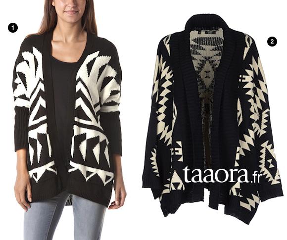 1ec64d60b82e9 Cardigan aztèque noir et blanc Promod coupe oversize, avec emmanchures  chauve-souris. 2. Gilet bicolore noir à motifs graphiques blancs de la  marque Care of ...