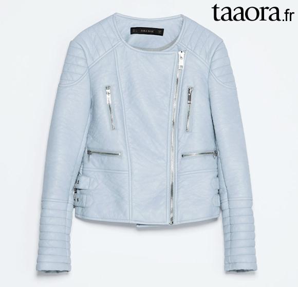 Blouson Zara Printemps Bleu 2014 Ciel Motard Taaora – Nouveauté qTtrT