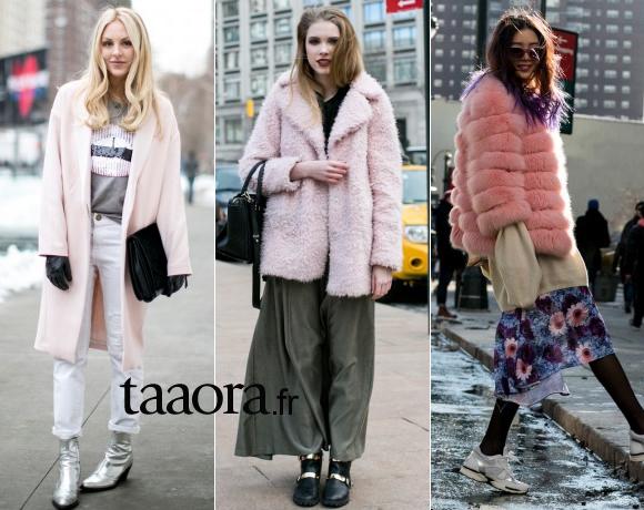 avec quoi porter un manteau rose street style la fashion week de new york taaora blog. Black Bedroom Furniture Sets. Home Design Ideas