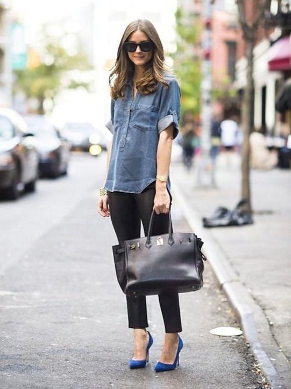 Olivia Palermo : son look en chemise en jean + skinny noir + escarpins ...
