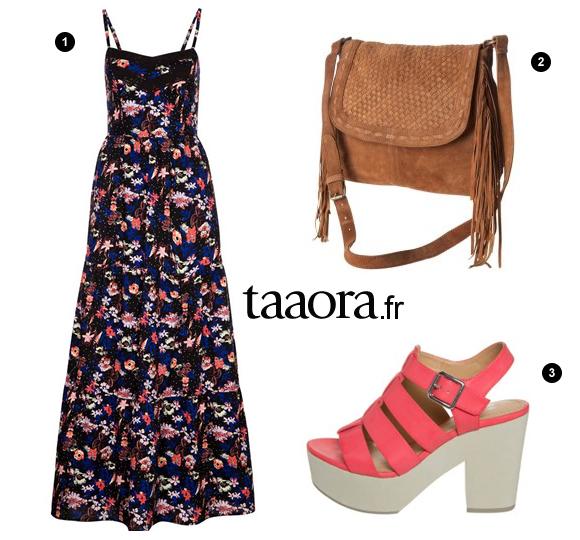 look boh me chic robe longue fleurs sac franges sandales plateformes taaora blog. Black Bedroom Furniture Sets. Home Design Ideas