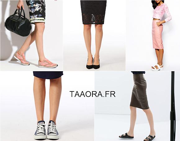 avec quelles chaussures porter une jupe droite taaora. Black Bedroom Furniture Sets. Home Design Ideas