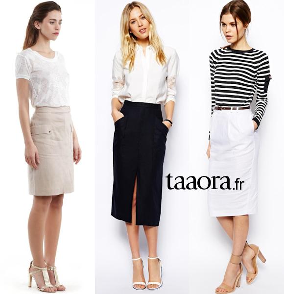 3 looks chics et f minins pour le travail avec une jupe droite taaora blog mode tendances. Black Bedroom Furniture Sets. Home Design Ideas