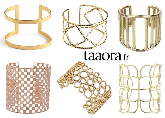 bijou tendance t 2014 le bracelet manchette ajour dor taaora blog mode tendances looks. Black Bedroom Furniture Sets. Home Design Ideas