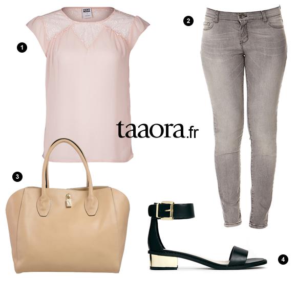 id e look t 2014 blouse rose p le jean gris sandales talons carr s taaora blog. Black Bedroom Furniture Sets. Home Design Ideas