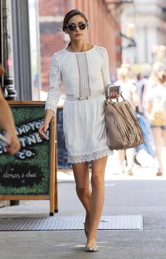 2c866f89f98 La robe blanche en dentelle d Olivia Palermo   son look romantique à shopper