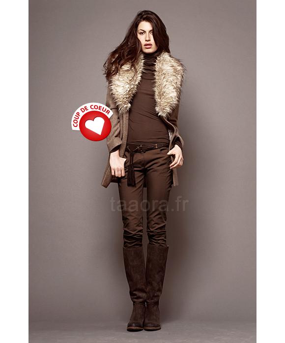 manteau ikks avec grand col en fourrure taaora blog mode tendances looks. Black Bedroom Furniture Sets. Home Design Ideas