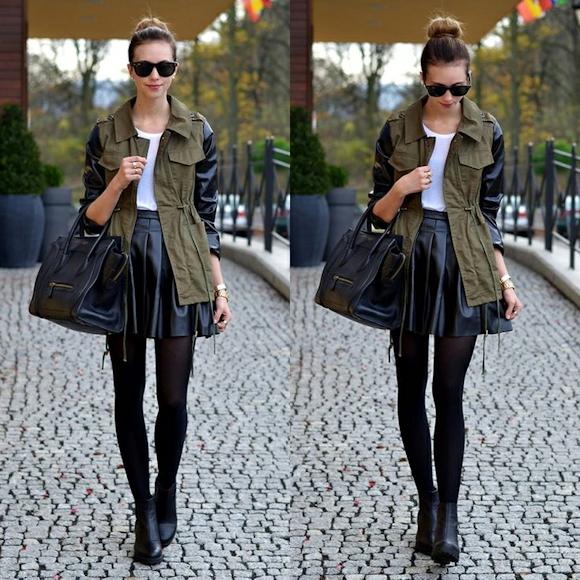 veste kaki dans le noir