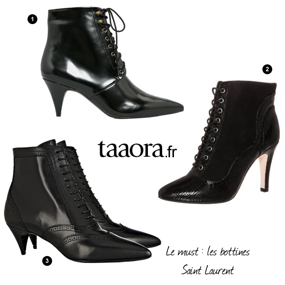 bottines lac es pointues noires tendance hiver 2014 2015 taaora blog mode tendances looks. Black Bedroom Furniture Sets. Home Design Ideas