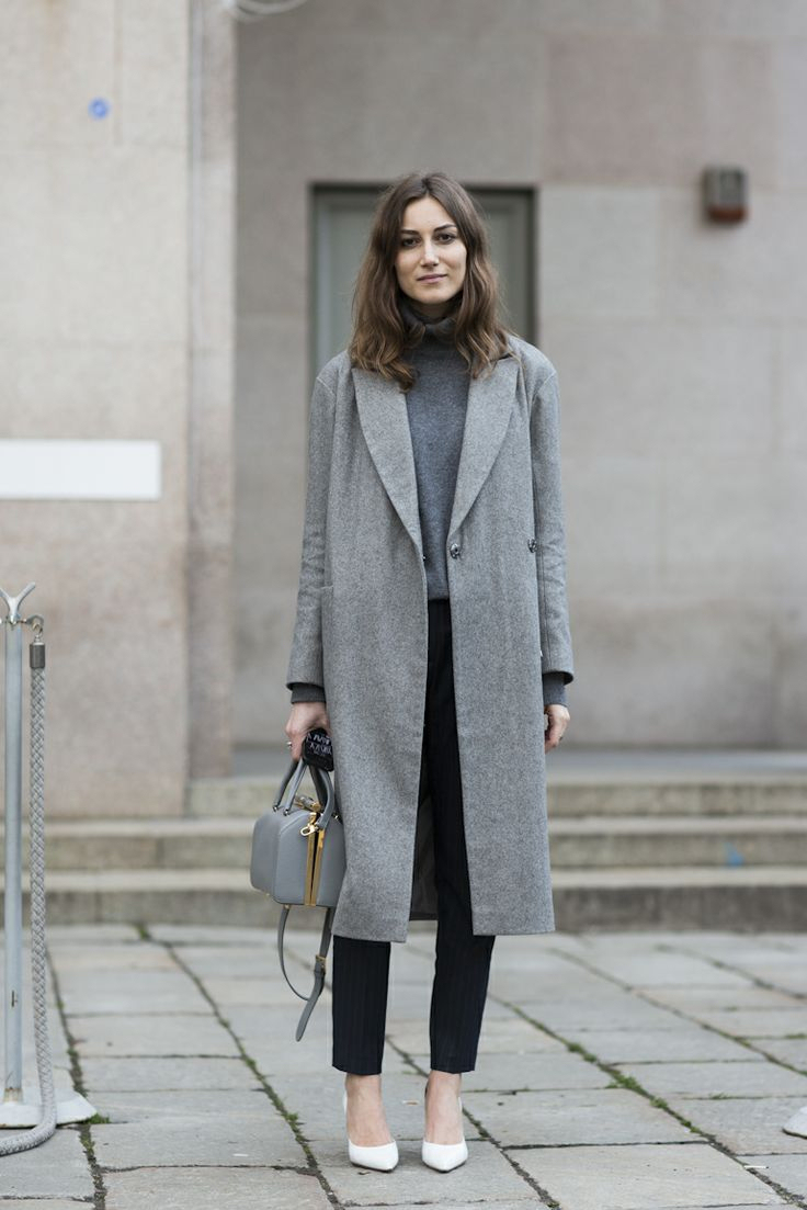 Manteau gris et blanc femme