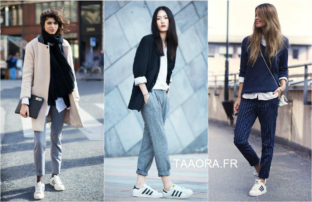 blogueuse mode pantalon habillé baskets adidas superstar pas