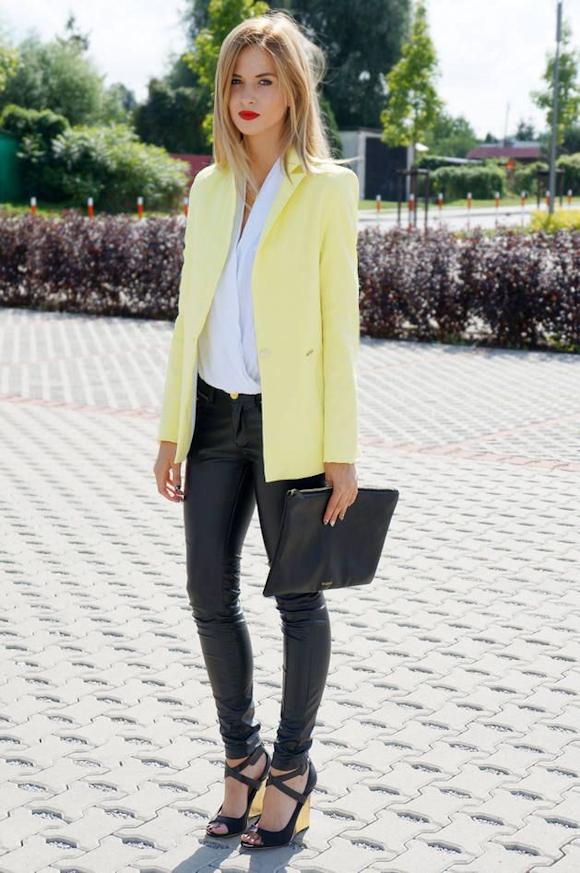 67bba13616f0e Look chic avec une veste de tailleur jaune – Taaora – Blog Mode ...