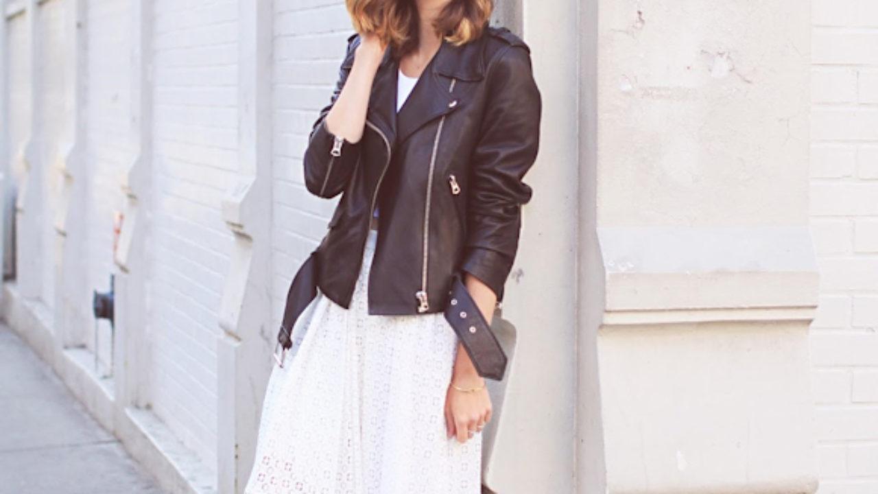 f896280b00191 Jupe en dentelle blanche et blouson en cuir noir – Taaora – Blog ...