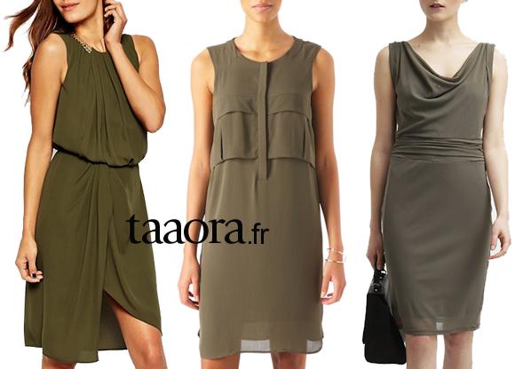 3 robes tendance kaki shopper maintenant taaora blog mode tendances looks. Black Bedroom Furniture Sets. Home Design Ideas
