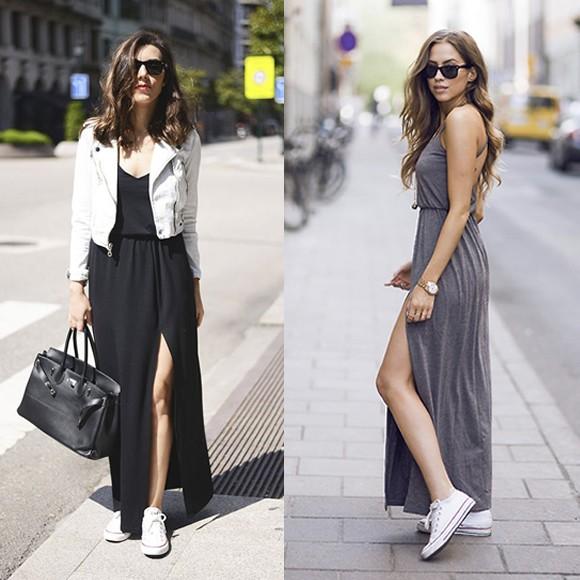 converse blanches et robe longue fendue le bon look taaora blog mode tendances looks. Black Bedroom Furniture Sets. Home Design Ideas