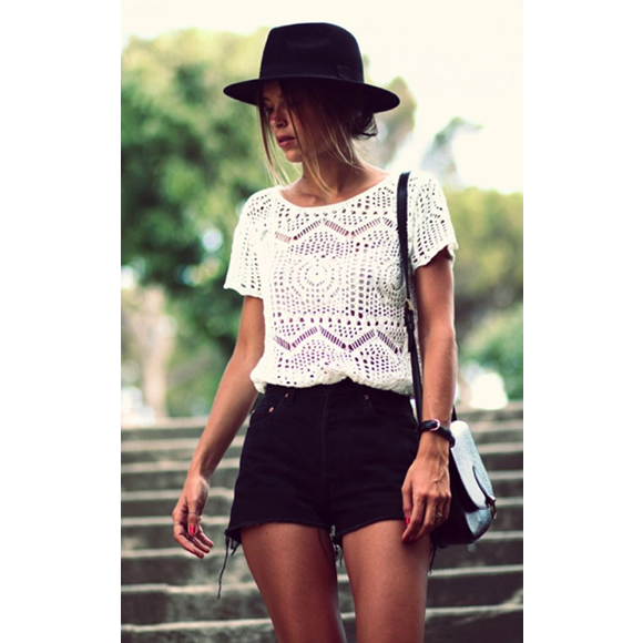 street style top en crochet blanc short en jean noir levi s 501 taaora blog mode. Black Bedroom Furniture Sets. Home Design Ideas