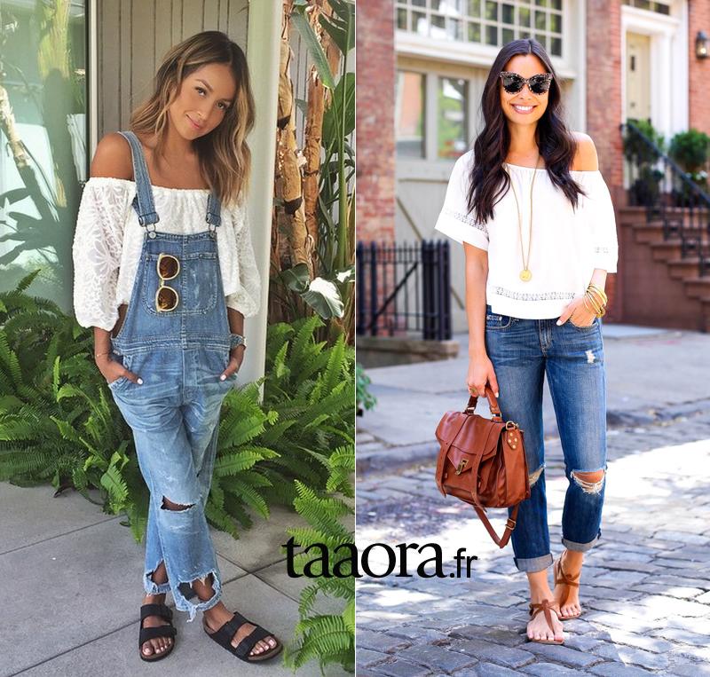 comment porter la blouse blanche bardot le top tendance de cet t taaora blog mode. Black Bedroom Furniture Sets. Home Design Ideas