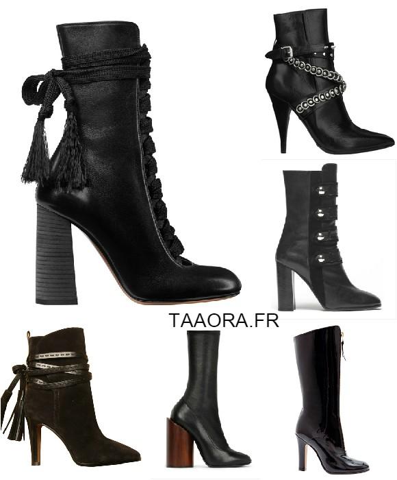 les boots montantes noires talons chaussures d fil s automne hiver 2015 2016 taaora blog. Black Bedroom Furniture Sets. Home Design Ideas