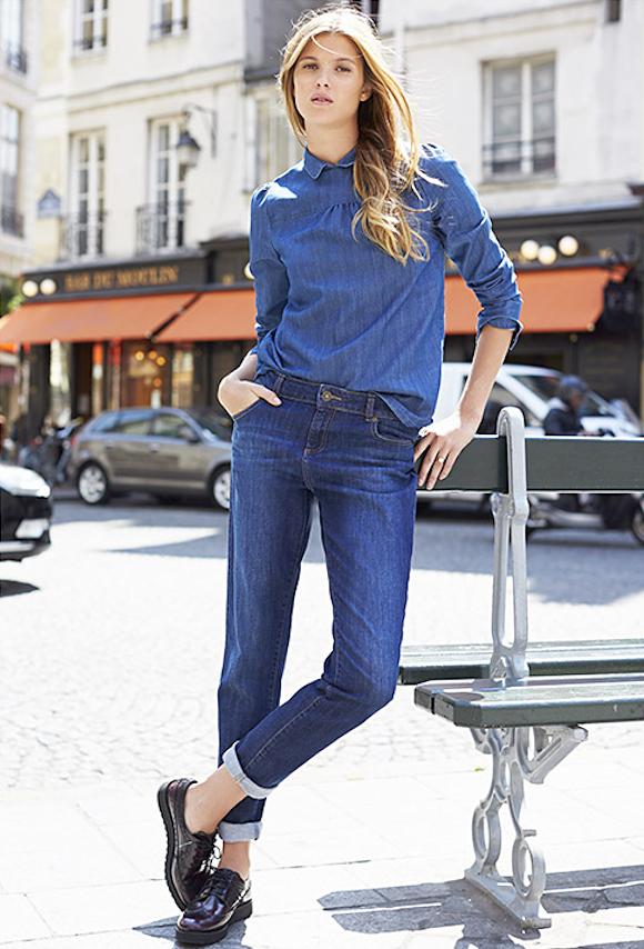 look tendance denim automne hiver 2015 blouse col claudine jean boyfit et derbies noires. Black Bedroom Furniture Sets. Home Design Ideas