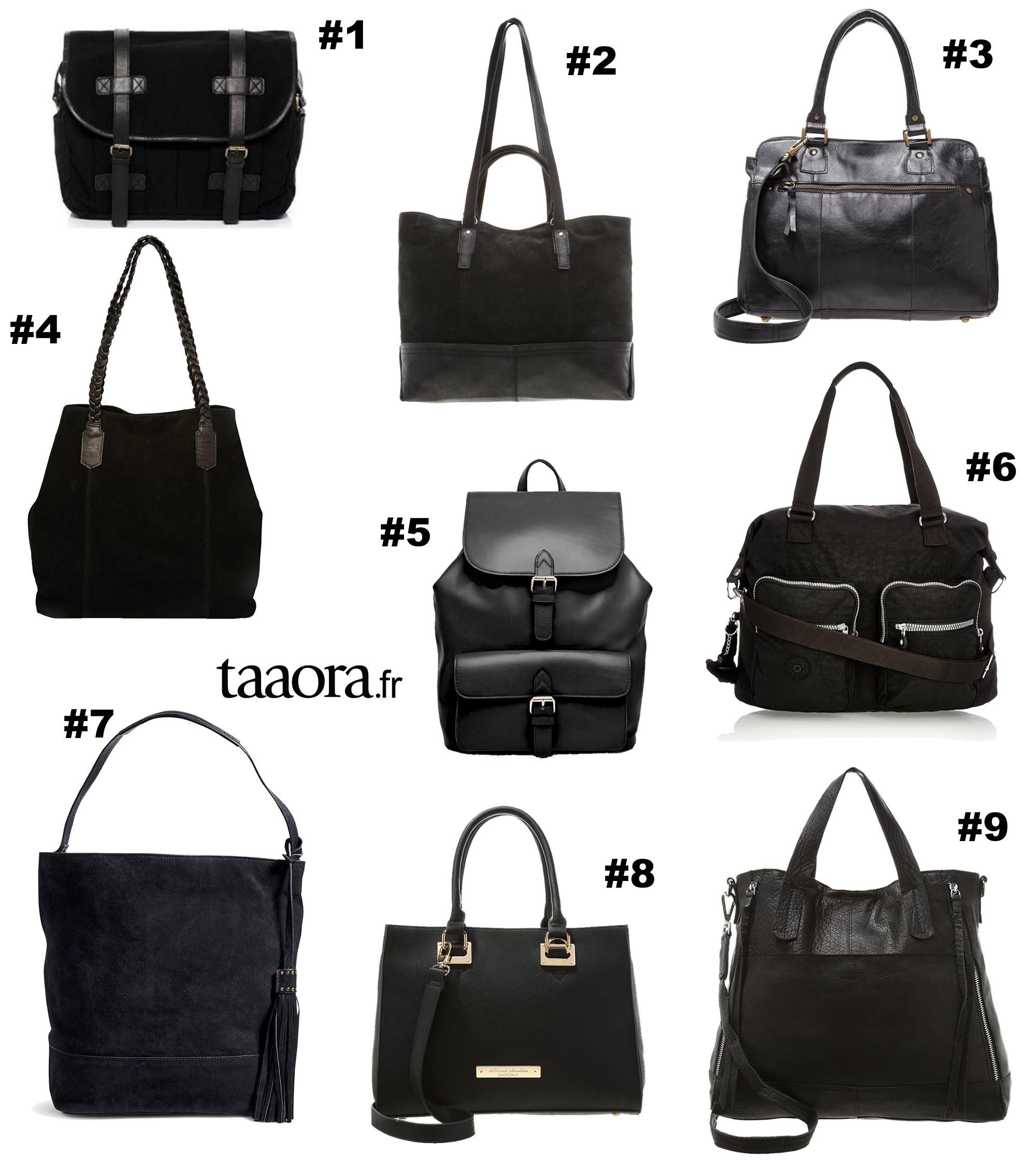 sacs noirs pour les cours 9 sacs pour la rentr e au coll ge au lyc e ou la fac taaora. Black Bedroom Furniture Sets. Home Design Ideas