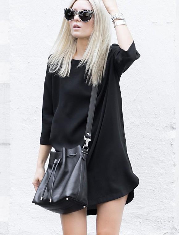 total look noir robe droite simple sac seau proenza. Black Bedroom Furniture Sets. Home Design Ideas