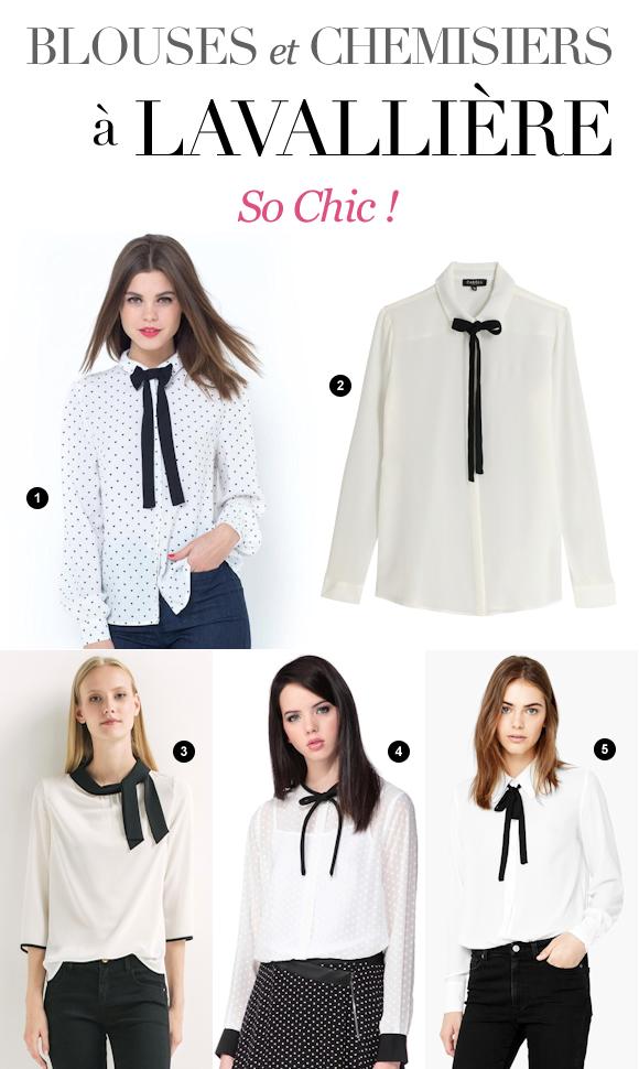 hauts blancs avec ruban noir nouer au col 5 blouses et chemisiers lavalli re tendance. Black Bedroom Furniture Sets. Home Design Ideas