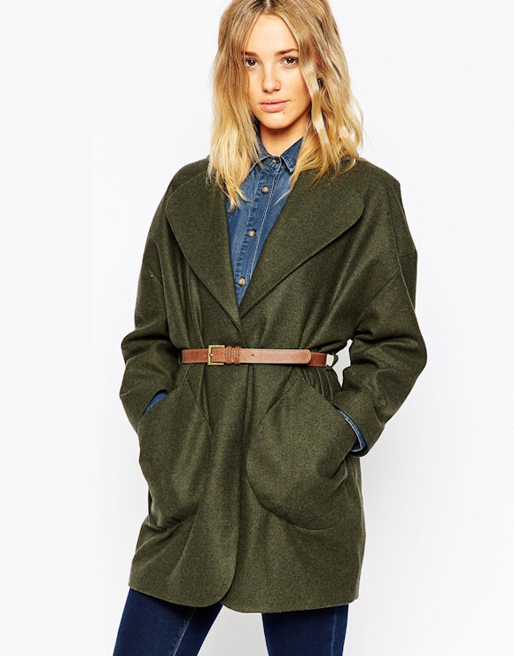 manteau automne hiver 2015 2016 couleur kaki taille ceintur e poches plaqu es 3 d tails. Black Bedroom Furniture Sets. Home Design Ideas