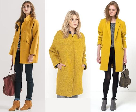 3 manteaux couleur jaune safran tendance automne hiver 2015 2016 taaora blog mode tendances - Couleur mode hiver 2017 ...
